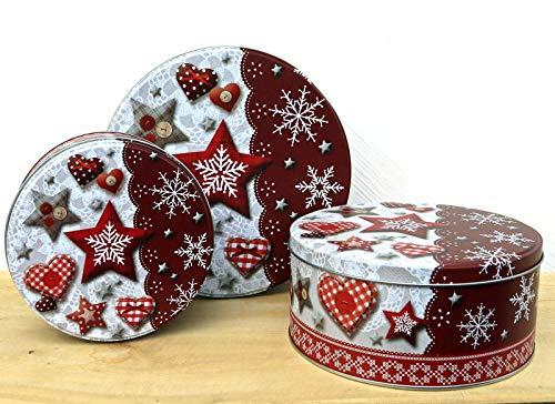 Fashion&Joy Typ394 Lot de 3 boîtes à biscuits de Noël en métal, Métal, Lot de 3 flocons de neige., 20 x 9 cm 3er Set