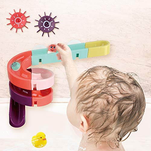 BESSENTIALS Kids Bath Toys Assemble Set - 24PCS DIY Wall Suction Water Slide Bathtub Toys for Toddlers Boys and Girls 3-6 Years Old