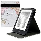 kwmobile Carcasa Compatible con Kobo Clara HD - Funda para e-Book de Cuero sintético - Mapa Mundial Negro/Multicolor