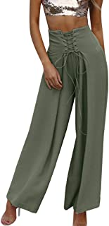 Women High Waist Solid Color Pants, Casual Breathable Loose Harem Wide Leg Pants Trousers for Sports Yoga, Ladies Daily Clothes