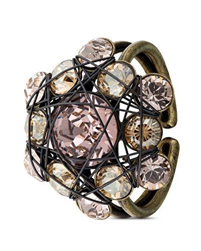 KONPLOTT Ring Bended Lights Messing Beige Rosa Fingerschmuck Damen Märchenhaftes Design