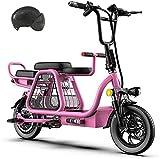 Bicicletas Eléctricas, Scooters eléctricos de tres plazas para la bicicleta eléctrica plegable de 12 pulgadas adulta con asiento para niños y cesta de almacenamiento Bicicleta eléctrica con neumáticos