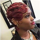 Wine Red Finger Wave Wigs 100% Virgin Human Hair Mommy Wigs 1920s Flapper Costume Wigs for Women (99J Wine Red)
