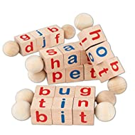 Toy To Enjoy Wooden Reading Blocks (6 Pieces) Phonetic Educational Spinning Alphabet Letter Spelling Toys for Toddlers Learning - Montessori Approved Toy for Pre-Kindergarten Boys & Girls