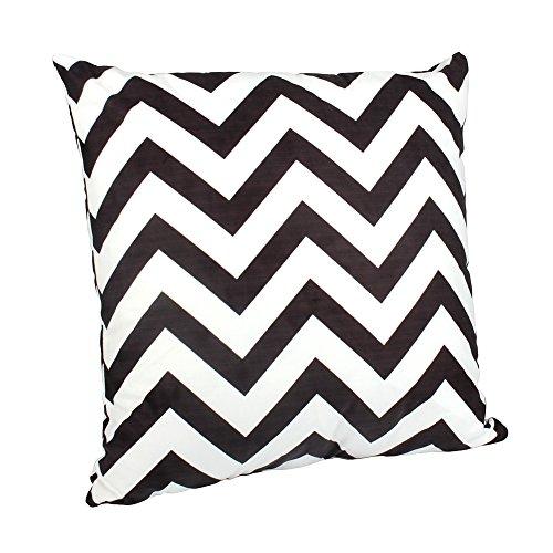 Outflower Funda de cojín, diseño de zig zag blanco y negro para dormitorio, salón, oficina, coche, sofá (50x 50cm), Large, 50 x 50 cm