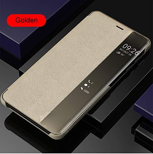 SevenPanda Window View Handyhülle für Huawei P20 Lite, Automatisches Aufwecken/Schlafen Litschi Leder Cover Intelligenter Flip Rutschfester Ständer Cover Case für Huawei P20 Lite - Gold