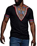 Gtealife Men's African Print Dashiki T-Shirt Tops Blouse (Z-Black, XL)