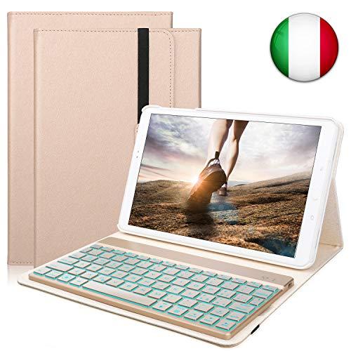 Custodia Tastiera per Samsung Galaxy Tab A10.1, Italiana Tastiera Bluetooth Senza fili con Retroilluminazione a 7 Colori e Funzione Auto Wake/Sleep, Oro