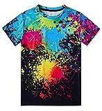 TUONROAD Kids' Short Sleeve T-Shirt Paint Splatter Tee Shirts Summer Crewneck Graphic Tees Shirt Black Tops 6-8T