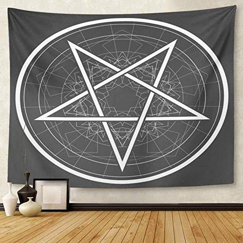 Wandteppich Artwork Wandbehang Satan Star Inverted Fünfzackiger Stern Satan Sign Gothic Style Symbol Round Devil 150cmx200cm
