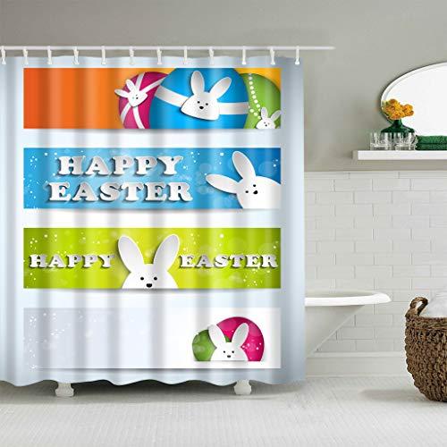 gwregdfbcv White cute rabbit colored egg shower curtainBathroom accessories 180X180CM waterproof and mildew shower curtain