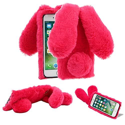 Funda de Felpa para iPhone 5/5S/5C/SE 4.0' Piel sintética Mullido 3D Conejo Orejas Cubierta Suave y cálida Estuche Protector de TPU de Pelo con Diamantes Brillantes YiCTe Rosa roja