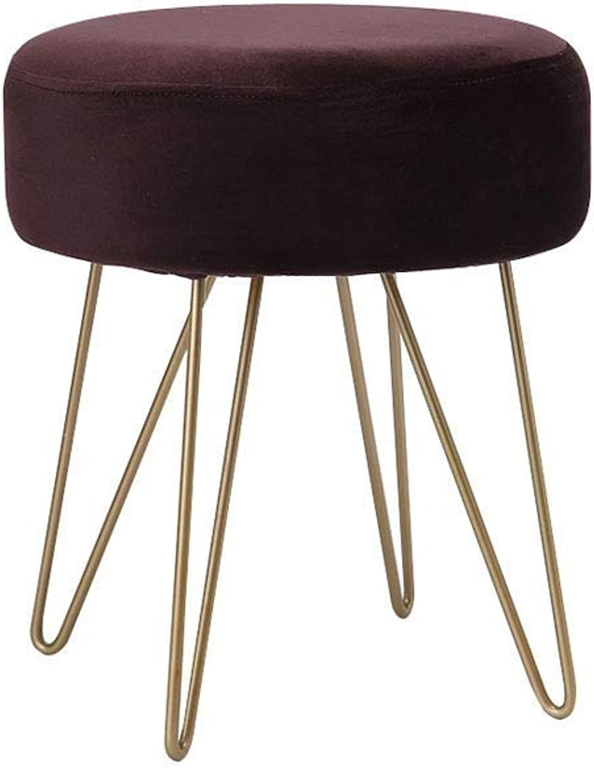 Round Stool Stainless Steel Stool Legs, Soft Cushion Bedroom Living Room Dressing Table Clothing Store bluee 35cm × 40cm (Size   Brown)