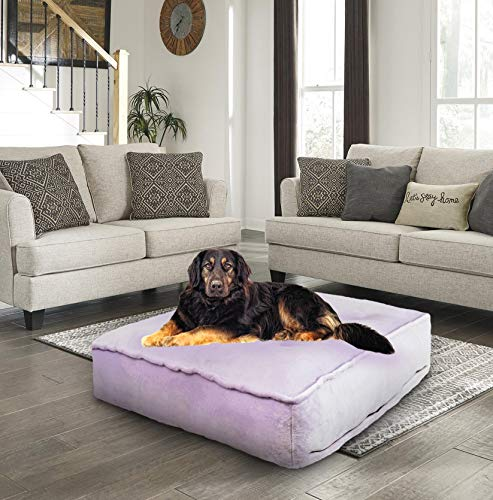 Bessie and Barnie Lilac Luxury Extra Plush Faux Fur Rectangle Pet/Dog Bed (Multiple Sizes)