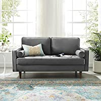 The Cozy Couch - Alisha Solid Wood Square Arm Loveseat Premium Suede Velvet Upholstery (Grey).
