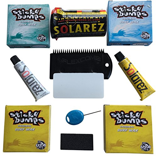 Sticky Bumps Wax Plus Solarez UV Cure Resin Ding Repair Kit Now Includes a Futures Fin Key, 2 Bars of Tropical Wax, 1 Base Coat, 1 Cool Wax and a Flexcomb to Clean Your Board
