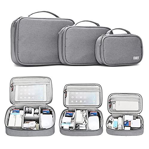 Estuche organizador de viaje portátil para cables USB, cargadores, batería y iPad Mini, 3-set-gray