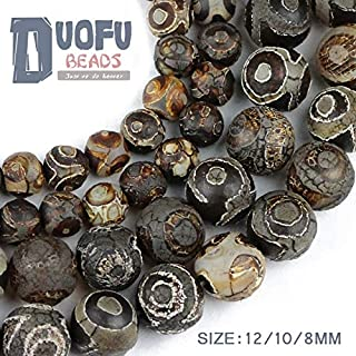 maledery China Tibetan Dzi Eyes Beads Natural Brown Agate Stone Religion Round Loose Bead 8/10/12MM Beads for Jewelry Making Bracelet DIY(Multi-Color,12)