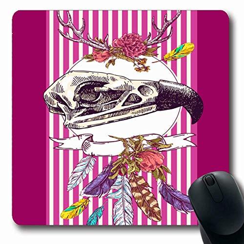 Alfombrilla de ratón Oblong Dreamcatcher Flecha Dibujo Animal Cráneo Dibujo Fauna y flora Anatomía Naturaleza Pájaro impresionante Peligro negro Alfombrilla de goma antideslizante Alfombrilla