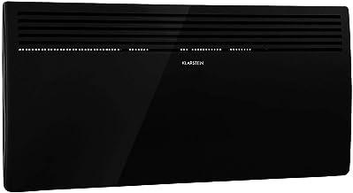 Klarstein Hot Spot Slimcurve - Calefactor por convección, Circulación de aire por calentamiento, 2 niveles potencia, Protección IP24, Hasta 40 m², Detección de ventanas abiertas, Autoapagado, Negro