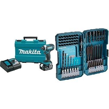 Makita XDT111 3.0 Ah 18V LXT Lithium-Ion Cordless Impact Driver Kit with 70-Piece Impact Drill-Driver Bit Set