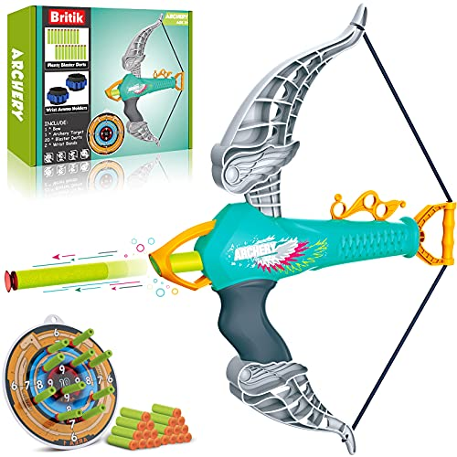 Britik Bow and Arrow Set for 3 4 5 6 7 8 Year Old Boys  Outdoor Toys for Kids Ages 4-8 Toys for 5 Year Old Boys Toys for 6 Year Old Boys Gifts Indoor Games Birthday Gifts for Boys Girls Kids