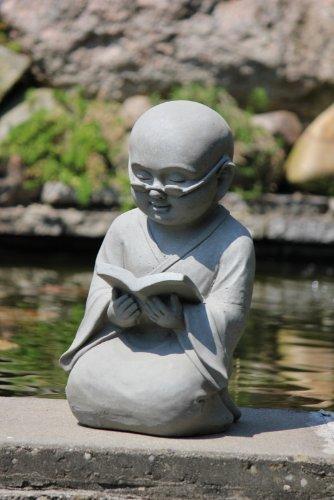 Figur Shaolin Mönch lesend mit Buch – für Haus und Garten – Höhe 42 cm – grau - 2