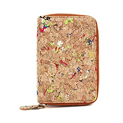 Boshiho Fashion Cork Wallet Zipper Around Design Bifold Purse Wallet with Coin Pocket Holder Eco Friendly Vegan Gift
