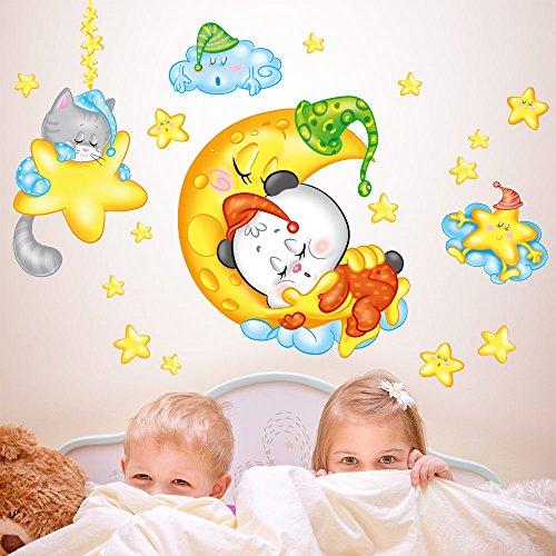wall art RCC0051 Stickers muraux pour Enfants imprimé sur papiers Peints Bonne Nuit Panda - 30X120 cm