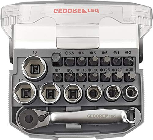 "GEDORE red Bit-Knarren-Satz 1/4\"" mit Bit-Fix-Adapter, umschaltbar, compact 23-teilig"