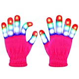 Jofan Light Up Gloves LED Gloves Rave Cool Toys Gifts for Kids Teens Boys Girls Christmas Stocking Stuffers Party Favors (Ages 10-16, Pink)