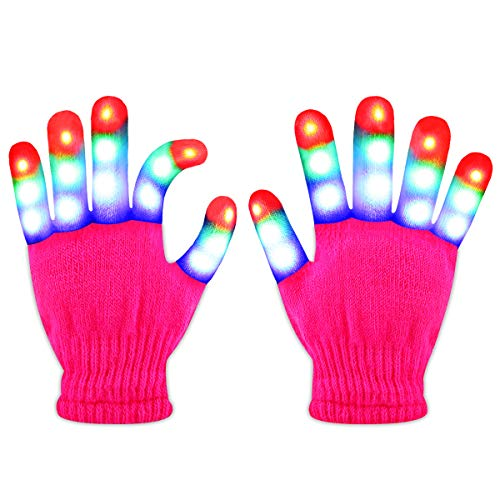 Jofan Light Up Gloves LED Gloves Rave Cool Toys Gifts for Kids Teens Boys Girls Christmas Stocking Stuffers Party Favors (Ages 4-9, Pink)