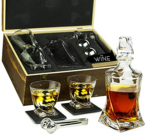Whiskey Stones & Decanter Gift Set for Men & Women, By The Wine Savant, 2 XL Stainless Steel Whiskey Balls, 2 Twist Glasses, Whiskey Decanter, 2 Coasters, Freezer Pouch & Special Tongs in Pinewood Box