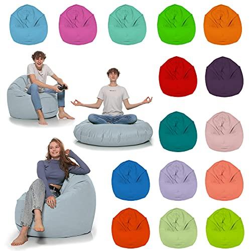 HomeIdeal - Sitzsack 2-in-1 Funktionen Bodenkissen für Erwachsene & Kinder - Gaming oder Entspannen - Indoor & Outdoor da er Wasserfest ist - mit EPS Perlen, Farbe:Grau, Größe:130 cm Durchmesser