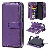 Galaxy A12 Funda de piel para Samsung A12 5G Wallet Case Anti-Resistente Soporte TPU Flip Case, A Prueba de Golpes Cubierta (Púrpura)