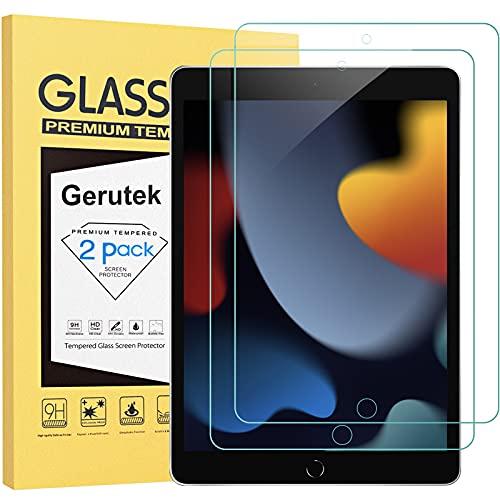 Gerutek [2-Pack Pellicola Protettiva per iPad 10.2 2021/2020/2019 (9a/8a/7a),[Vetro temperato] [Ultra Trasparente] [Anti-graffio] [Bubble-Free] [Durezza 9H] per iPad 9th/8th/7th Generatione 10.2