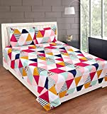 Apna Decor 100% Cotton Bedsheet 160 TC Beautiful Multicolors Triangles Printed with 2 Pillow Covers