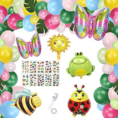 HAKOTOM 85 Pezzi Compleanno Festa Giardino Colorato Palloncino Set,Foil Insetto Giungla con Farfalle Api Coccinella Rana Palloncino Sole Foglie di Palma per Bambini per Decorazioni di Compleanno