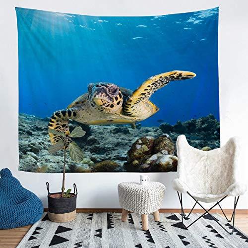 Manta de pared con diseño de tortuga marina, 3D, para niños y niñas, para colgar en la pared, diseño de animales subacuáticos, manta grande de 58 x 79 cm