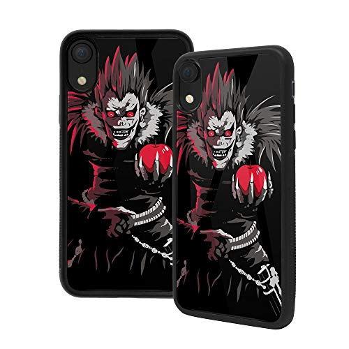 Anime Art Funda para iPhone XR Death Note, Premium Cristal Templado Back Case [absorción de Impactos] Marco de Goma Suave con Agarre