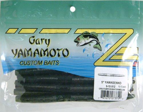 Yamamoto 9-10-912 Senko Worm, 5' 10pk, Green Pumpkin & Watermelon