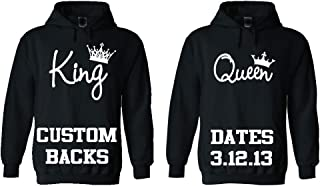 King Queen Couple Hoodies, Custom Dates on The Back. Customize it!