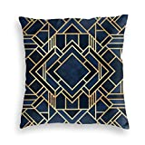 Funda de almohada, Art Deco Fancy Azul Decorativo Cuadrado Throw Funda de cojín 45,7 x 45,7 cm para sofá, dormitorio, sala de estar