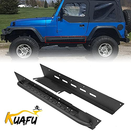 KUAFU Slider Rocker Guard Side Step Armor Rock Guards for 1997-2006 Jeep Wrangler TJ Steel