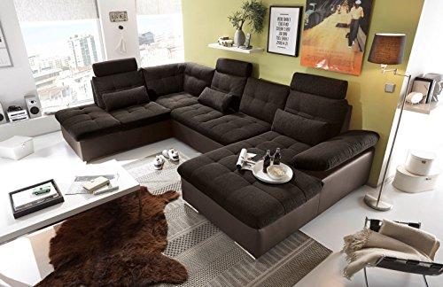 moebel-guenstig24.de Couch Jakarta Wohnlandschaft Sofa Lederlook Schlaffunktion Schlafsofa braun schwarz Ottomane Links 324 cm