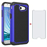 Phone Case for Samsung Galaxy J3 Luna Pro J 3 Prime 2017 Emerge 3J Eclipse Mission with Tempered Glass Screen Protector Cover and Hard Rugged Hybrid TPU Cell Accessories Glaxay S327VL Cases Black Blue