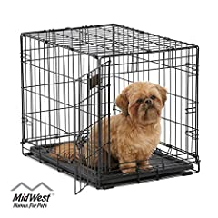 ICrate the 'All Inclusive Dog Crate' Includes Free divider panel, durable dog tray, carrying handle, 4 'roller' feet to protect floors & midwest quality guarantee 1 year warranty Small single door folding dog crate ideal for dog breeds; dog weight  1...