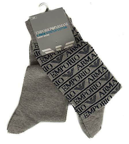 Emporio Armani Herren Plain Stretch Ea All Over 2 Pack Short Socken, Melange Pale Grey, Einheitsgröße (2er Pack)