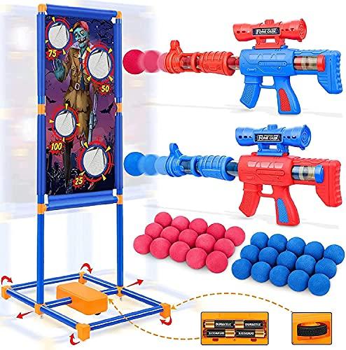 Otes 2 Pistolas Juguete de Bolas de Espuma y Objetivo de Pie Móvil, Juego de Tiro para Niños, Juguetes de Tiro, Regalo Ideal para Niños para Exteriores y Interiores