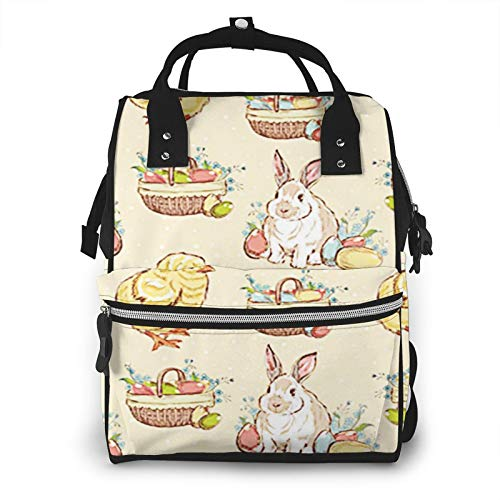 Nappy Changing Bag Backpack, Large Diaper Bags Easter Chicken Rabbit Basket Multi-Function Waterproof Maternity Nappy Back Pack for Baby Care Mom Dad Travel